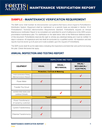 SAMPLE - Maintenance Verification Report