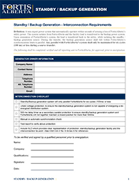 Standby or Backup Generator Interconnection Requirement Checklist